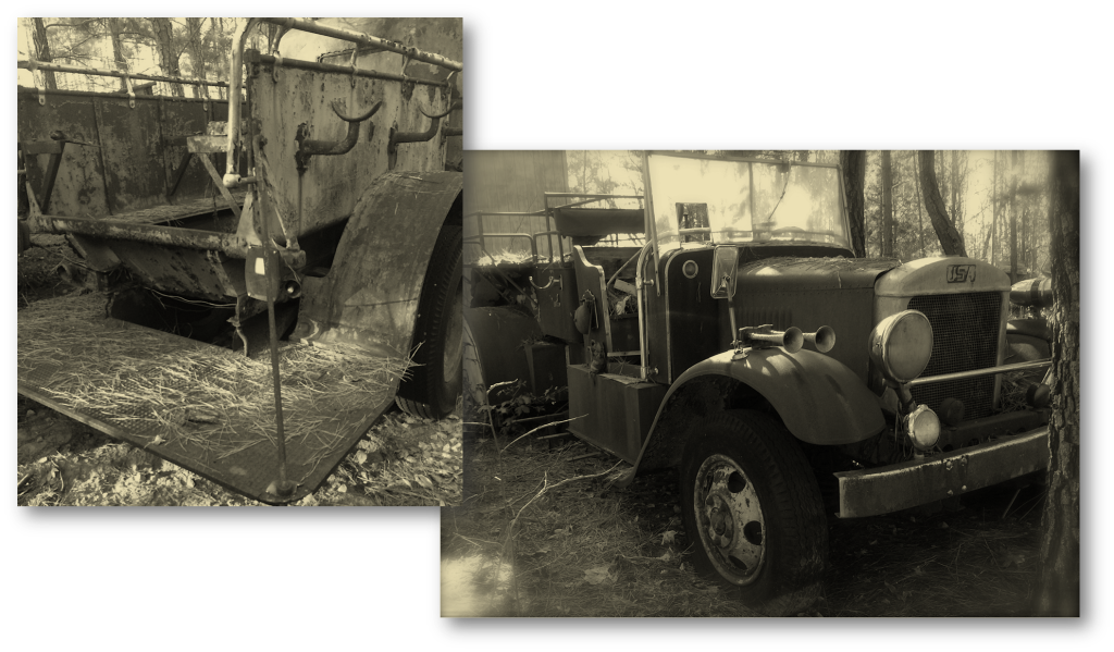 Before - both trucks (sepia with shadows)